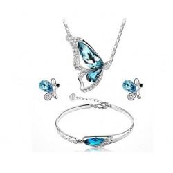 Parure papillon  Collier + Boucle D'oreille + Bracelet Cristal bleu