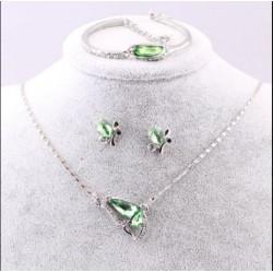Parure papillon  Collier + Boucle D'oreille + Bracelet Cristal vert