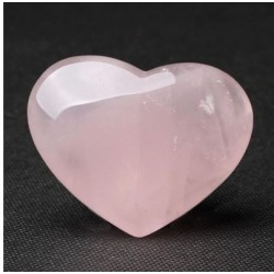 Cristal de quartz rose naturel rose sculpté en forme de coeur