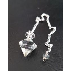 Pendule diamant en cristal de roche