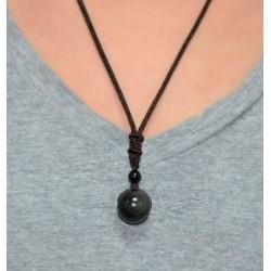 Collier pendentif à l'obsidienne arc-en-ciel Lucky