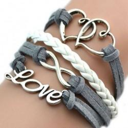 Bracelet  fantaisie gris et blanc