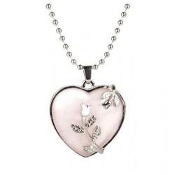 Pendentif  coeur en quartz rose