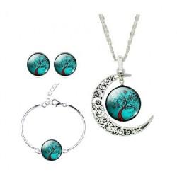 Parure de bijoux de la vie Boucles d'oreilles Collier Bracelet (vert)